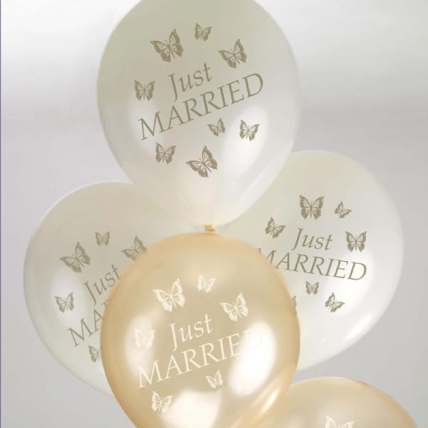 Elegant Butterfly Just Married Balloons - Ivory & Gold (8)